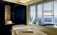 Hotel Arts Barcelona treatment room with a view. Barcelona Hotels, Arts Barcelona, Barcelona Spain, Massage Room, Massage Envy, Spa Offers, Hotel Lobby, Ceiling Windows, Pent House