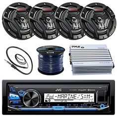 """JVC KDX33MBS Marine Boat Yacht Radio Stereo CD Player Receiver Bundle Combo With 6.5"""" 2-Way Coaxial Speakers"""