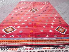 Check out this item in my Etsy shop https://www.etsy.com/listing/268700863/vintage-turkish-kilim-rug-red-rug-large