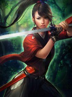 Samurai girl, sato by sakimichan Warrior Girl, Fantasy Warrior, Fantasy Girl, Fantasy Samurai, Anime Warrior, Fantasy Portraits, Character Portraits, Character Art, Fantasy Characters