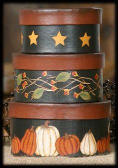 Autumn Fall - Nesting Boxes - Stars, Bittersweet, Pumpkins
