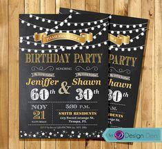Adult Joint Birthday Invitation. String light by ByDesignDen