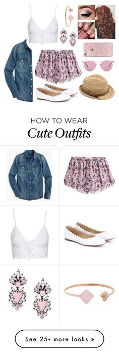 """""""Spring outfit #2"""" by kenzieeeeebethhhhh on Polyvore featuring Topshop, J.Crew, Chloé, Prabal Gurung, Erickson Beamon, M&Co, Oliver Peoples, Skinnydip and Michael Kors"""
