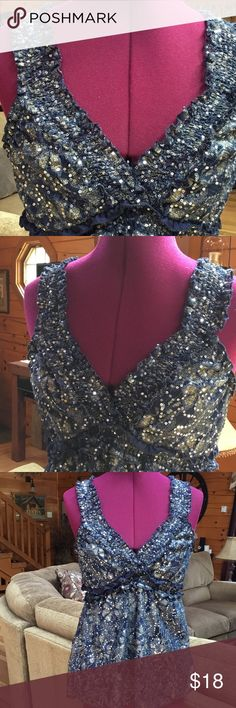 ❤️Hey Girl... Gorgeous blue and silver lined sequined sparkling top. Rue 21 Tops