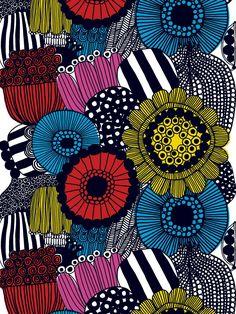 Marimekko is such an inspiration. I love this fabric design. #fabric #illustration