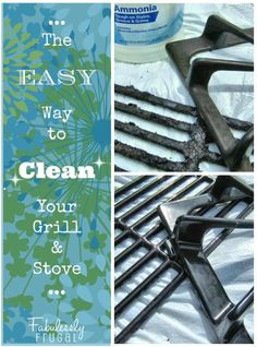 The EASIEST way to clean grill grates & stove burners! One cheap ingredient needed and you can just wipe the gunk off. No scrubbing!