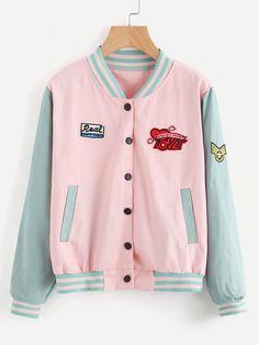 vaporwave fashion Contrast Sleeve Striped Trim Jacket With Badges Harajuku Fashion, Kawaii Fashion, Cute Fashion, Fashion Styles, Space Outfit, Vetement Fashion, Kawaii Clothes, Cool Clothes, Pastel Fashion