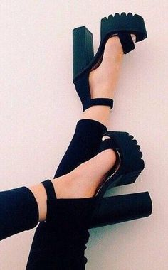Jessi black cleated sole platform shoes