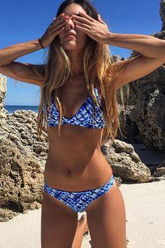 Cupshe Deep Water Ocean Bikini Set