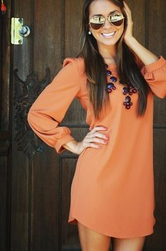 This dress and necklace + boots = cute fall outfit! Cute for a Florida fall