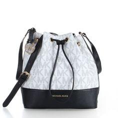 Michael Kors Jules Drawstring Logo Color-Block Small White Shoulder Bags
