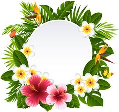 Illustration of tropical flowers and plants vector art, clipart and stock vectors. Tropical Flowers, Tropical Frames, Hawaiian Flowers, Tropical Vibes, Flower Frame, Flower Art, Zealand Tattoo, Plant Vector, Flamingo Party