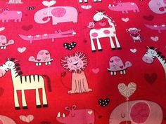 SALE 25% OFF Sale Love Animals Fabric with Heart by Brother sister Designs - 100 Percent Cotton Quality Fabric - $2.24 USD