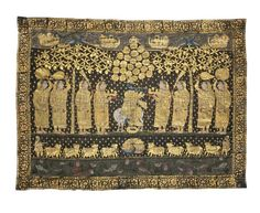 A PICCHVAI OF KRISHNA AND THE GOPIS  NORTH INDIA, 19TH/20TH CENTURY  Of rectangular form, painted on cotton and depicting Krishna fluting surrounded by the gopis, a pool with lotus and fish in front, with floral borders, worn in places 67 x 89½in (170 x 227.5cm.) Krishna Flute, Pichwai Paintings, Thing 1, North India, Indian Artist, Floral Border, Silk Painting, Textile Art, Fiber Art