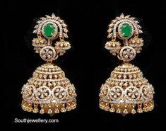Emerald Jewelry, Diamond Jewelry, Diamond Earrings, Drop Earrings, Diamond Jhumkas, Gold Fashion, Fashion Necklace, Bridal Jewelry, Board