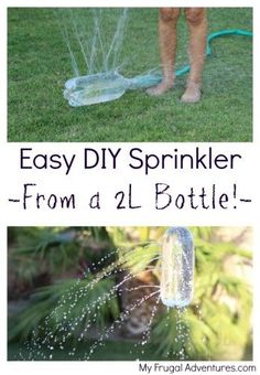 Fast and easy DIY Sprinkler for children-- made from a 2L bottle!