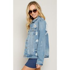 Oversized Distressed Denim Jacket ($37) ❤ liked on Polyvore featuring outerwear, jackets, med destroyed, lightweight jackets, distressed jean jacket, lightweight denim jacket, denim jacket and long sleeve jacket