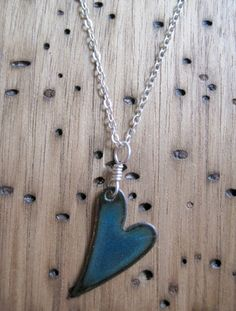 Mothers Day SALE Heart Pendant Necklace Water Blue by Steinvika, $35.10