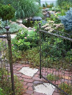 Old bricks or cobblestone give a garden rustic look @bhg