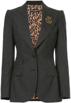 Dolce & Gabbana pinstripe blazer with crest appliqué