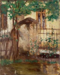 House with fence - Stefan Luchian Romantic Paintings, Artist And Craftsman, Post Impressionism, Famous Art, Art Database, Coups, Art And Architecture, Landscape Paintings, Fence