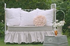 Vintage crib turned settee, in LOVE........