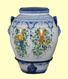 Orcio decoro Fruttina blu cm. 60 - Orci - Amalfi Coast Ceramics