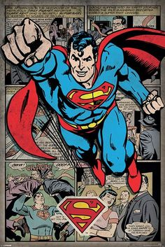 Superman - Comic Montage - Official Poster. Official Merchandise. Size: 61cm x 91.5cm. FREE SHIPPING
