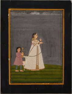 www.IndianMiniaturePaintings.co.uk - Indian miniature painting: Lady in a landscape with huqqa held by child, a deer between them. Jaipur, circa 1800. Opaque watercolour with gold on wasli. 19.6 x 15cm.