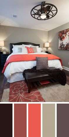 12 beautiful bedroom color schemes that will give you inspiration for your next bedroom remodel - decoration ideas 2018 Best Bedroom Colors, Bedroom Paint Colors, Bedroom Color Schemes, Coral Bedroom, Colour Schemes, Bathroom Colors, Bedroom Brown, Grey Orange Bedroom, Colors For Bedrooms