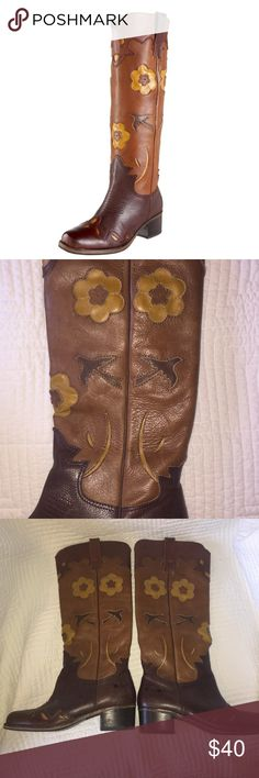 Lucky Brand Leather Tall Boots Three shades of leather with gorgeous detailing including yellow flowers and brown birds. Lucky no longer sells these! They are really old, but are in great shape! Super comfy with and low heel. Lucky Brand Shoes Heeled Boots