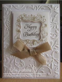 Handmade Greeting Card Happy Birthday Elegant Sophisticated Embossed Hand stamped. $6.00, via Etsy.