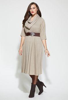 Plus Size Belted V Neck Knit Dress