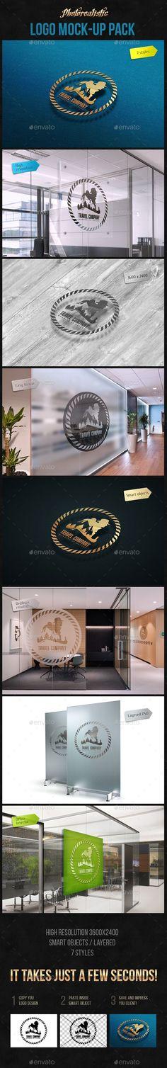 Photorealistic Logo MockUp Photoshop PSD Mock Ups Interior Design O Available
