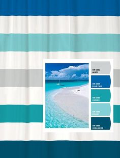 Shower Curtain with Beach Inspired Stripes