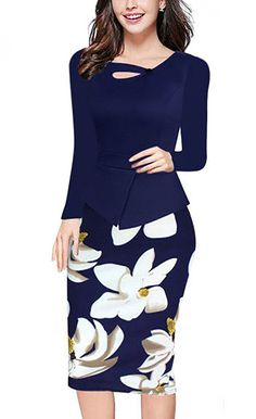 Demetory Womens Elegant Chic Sleeveless/Long Sleeve Floral Bodycon Formal Dress * See this great product.