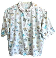 Vintage mens womens short sleeve collared button up with flowers twigs mushrooms apples butterflies butterfly hipster festival pastels brown by VELVETMETALVINTAGE on Etsy