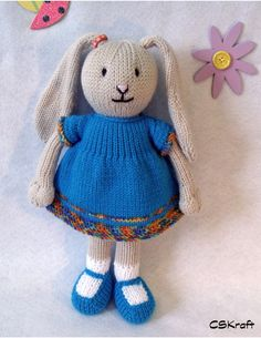 Toy doll bunny knitting pattern. Bina the Bunny. Floppy by CSKraft