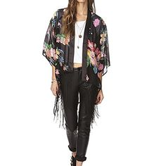 FINEJO Women's Retro Ethnic Floral Tassels Loose Kimono Cardigan Coat ...