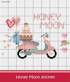 Embroider Romantic Scooter with Honey Moon lettering - Discover numerous free charts to embroider! - Cathy Shearer - - Embroider Romantic Scooter with Honey Moon lettering - Discover numerous free charts to embroider! Wedding Cross Stitch, Cross Stitch Cards, Simple Cross Stitch, Cross Stitching, Cross Stitch Embroidery, Embroidery Patterns, Embroidery Digitizing, Modern Cross Stitch Patterns, Cross Stitch Designs