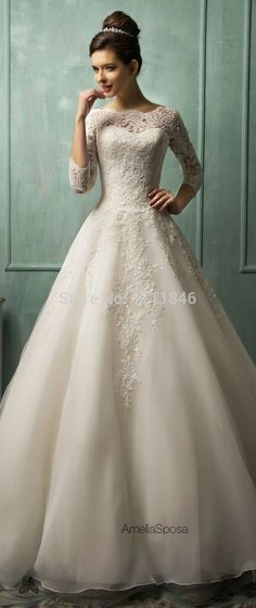 Cheap dress up girls dresses, Buy Quality dress japanese directly from China dress slim Suppliers:oduct Description2015 Spring Vintage Wedding Dress 3/4 Sleeves Organza Scoop Neck Chapel Train Modest Wedding Dresses Br