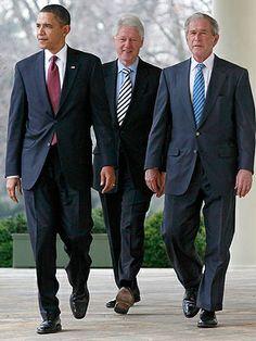 Ex Presidentes de Estados Unidos: Obama, Clinton y Bush.