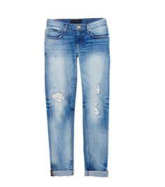 Distressed Straight Rolled Jeans ($148) #boyfriend