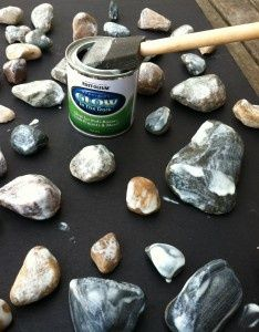 Cool idea for night garden! Glow-in-the-dark  rocks...we JUST got some glow in the dark paint! I just might be pinning a picture of our backyard SOON! :-)