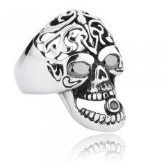 Hollow Smoking Skull With Gemstone Men's Punk Titanium Ring