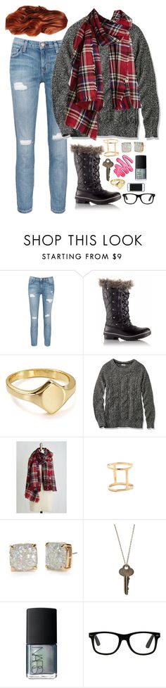 """""""Washington in the Winter"""" by weirdestgirlever ❤ liked on Polyvore featuring Current/Elliott, SOREL, BaubleBar, L.L.Bean, INDIE HAIR, Jeweliq, Kate Spade, The Giving Keys, NARS Cosmetics and Kate Spade Saturday"""