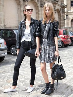 Fall 2013 Couture Week Street Style: Olyna (left), wearing Lee Jeans and Martina (right) wearing an Eden dress