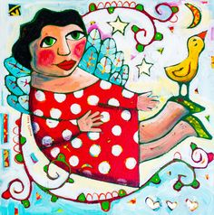 """Sara Catena is a dynamic visual artist based in Melbourne, Australia. Her works are evocative, richly tapestried pieces of tangible Happiness""""People say that my work moves them from feeling ordinary to feeling  HAPPY..that I am a Happiness Catalyst."""""""