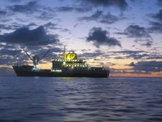 RMS St Helena at sunset