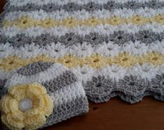 Pink Gray Baby Granny Square Blanket by DonnasPinsandNeedles